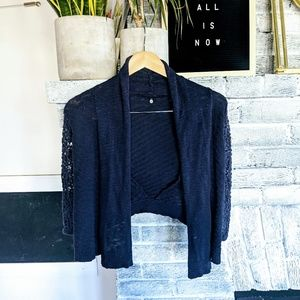 Anthro knitted and knotted crochet cardigan